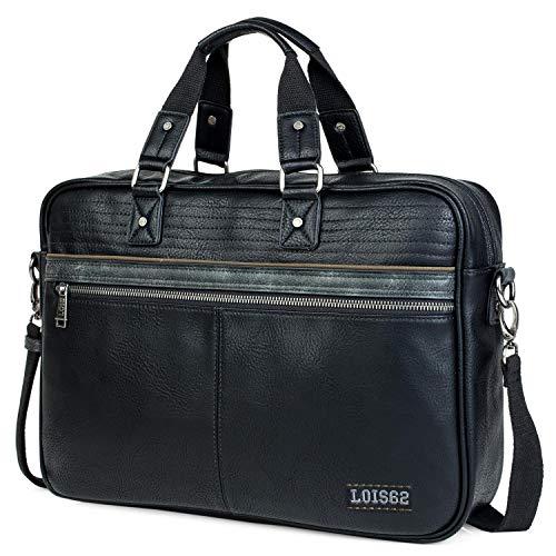 Lois - maletin portatil 15.6 Pulgadas. Cartera portadocumentos para Hombre. Cuero PU. Elegante. cómodo 305340, Color Negro