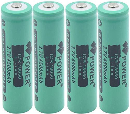 3.7v 4500mAh ICR 18650 Litio Litio Ion Batería Recargables Linternas Recargables baterías de Repuesto para linternas 4 Piezas