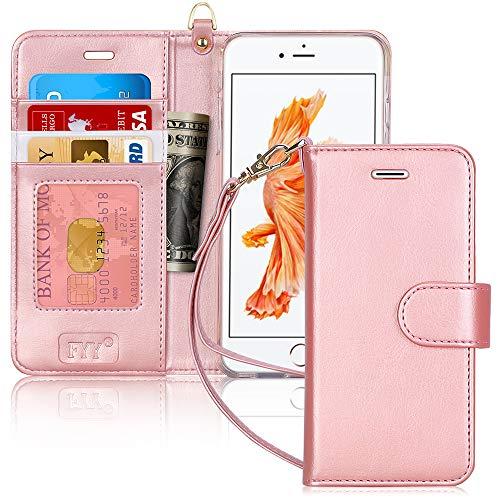 FYY Cover iPhone 6S Plus, Cover iPhone 6 Plus,Flip Custodia Portafoglio Caso Libro Pelle PU con Porta Carte e Chiusura Magnetica per Apple iPhone 6 Plus / 6S Plus - Rosa Oro