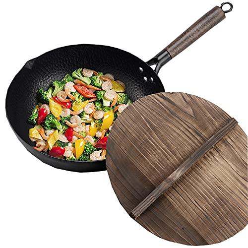 Wok tradicional de acero al carbono martillado a mano con mango auxiliar de madera y acero (12 pulgadas, fondo redondo)