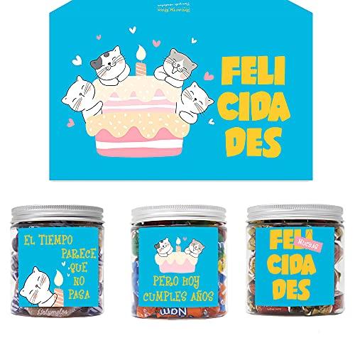 SMARTY BOX Caja Chuches Regalo Original Caramelos y Gominolas Cumpleaños Niños, Amiga, amigo, Pareja, Cesta Golosinas con Mensajes Dulces sin Gluten, Fabricado en España