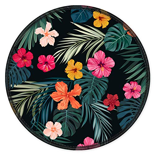 ITNRSIIET [20% Larger] Mouse Pad with Stitched Edge Premium-Textured Mouse Mat Waterproof Non-Slip Rubber Base Round Mousepad for Laptop PC Office 8.7×8.7×0.12 inches, Beautiful Floral
