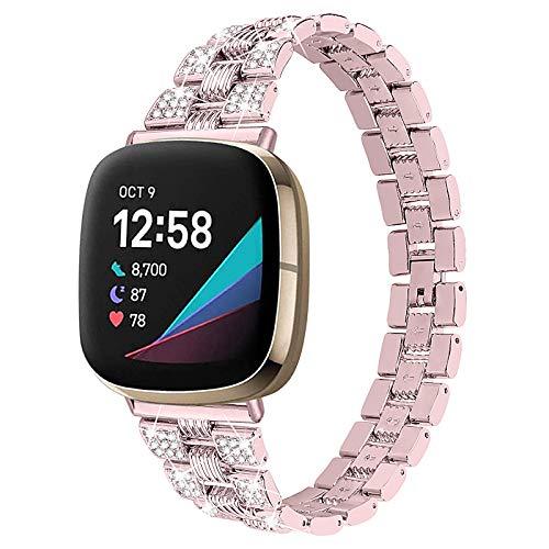 XIALEY Correa De Metal Compatible con Fitbit Versa 3 / Sense, Correa De Diamantes De Imitación para Mujer Correas De Repuesto De Acero Inoxidable Compatible con Versa 3 / Sense,Rose Pink