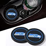 2 PCS Car Cup Holder Coasters with Seattle Seahawks Emblem, Silicone Anti Slip Seattle Seahawks Car Coasters Black Car Cup Holder Coaster Mat Accessories for Cars, Trucks, RVs and More, 2.75 Inch