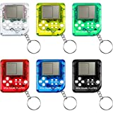 6 Pieces Brick Game Console Keychain Mini Brick Game Toy Keychain Classical Portable Game Console with Hanging Chain Birthday Festival Gift Party Favor, 26 Games