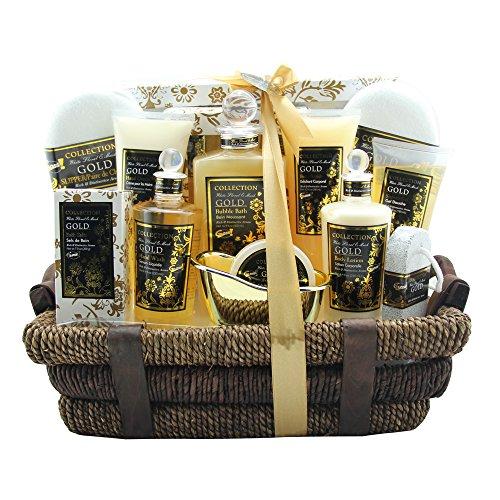 Gloss - caja de baño, caja de regalo para mujeres -  Set de baño Premium - Negro - Musk y flores - 14 piezas