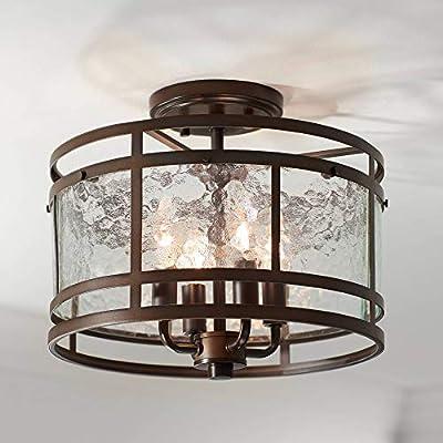 "Elwood Rustic Industrial Ceiling Light Semi Flush Mount Fixture Oil Rubbed Bronze 13 1/4"" Wide Water Glass Drum for Bedroom Kitchen Living Room Hallway Bathroom - Franklin Iron Works"
