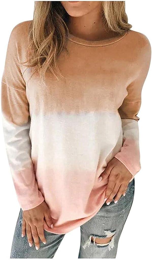 Haheyrte Womens Hoodies Plus Size Tie-Dye Printed Gradient Pullover Long Sleeve Sweatshirt Tops Casual Sweaters