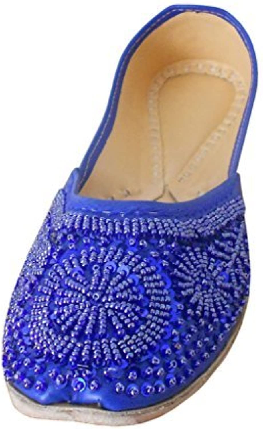 Kalra Creations Women's Mojari Traditional Indian shoes Faux Leather with Sequence Work Ethnic Flats