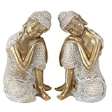 CasaJame Juego de 2 figuras de Buda sentadas de resina (17 x 17 x 24 cm), color blanco y dorado...