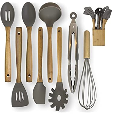 EPiKA Premium Silicone Bamboo Kitchen Utensils Set 9-Piece Cooking Utensils Set with Bamboo Wood Handles for Nonstick Cookware, Utensils Holder Included. Eco Friendly.