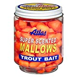 Atlas Mike's Jar of Garlic Marshmallow Salmon Fishing Bait Eggs, Orange