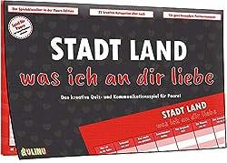 Kulinu Stadt, Land, was ich an dir Liebe - Spiel für Paare - Partner Geschenke Jahrestag - Geschenk für ihn sie Freund Freundin - 100% Made in Germany
