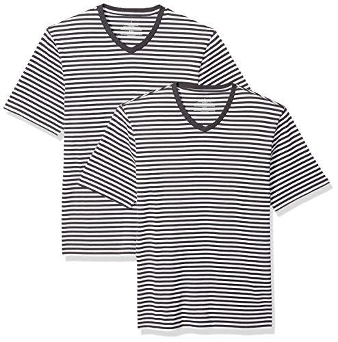 Amazon Essentials - Camiseta holgada a rayas de manga corta con cuello en V para hombre, Negro/Blanco, US L (EU L), Pack de 2