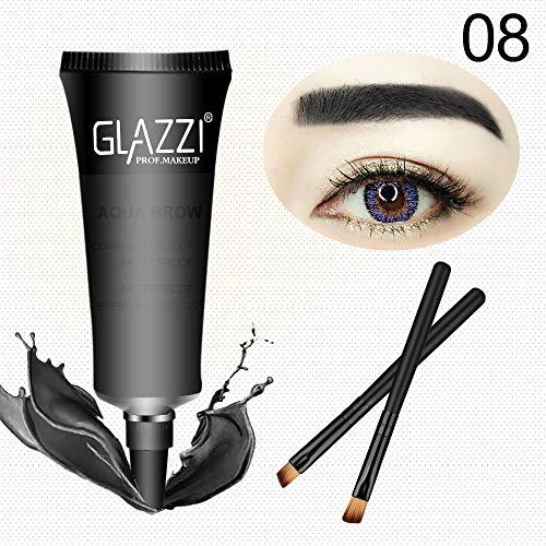 Wenkbrauw Enhancer, Sexy Make-up Waterdicht Langdurige Eyeliner Wenkbrauw Verven Crème Met Borstel Multi-Purpose Eye Cosmetic 08 Dark Black