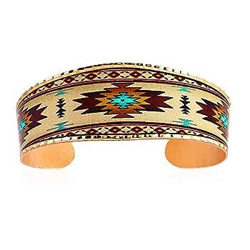 Artisan Copper Cuff Bracelets for Unisex Southwest Sunburst Design- Native American Inspired Bracelets for Men & Women Wide Cuff Adjustable Sunburst Jewelry