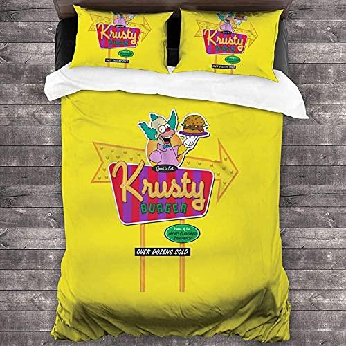 The Simpsons - Juego de ropa de cama infantil, diseño de Bart Simpson, funda nórdica y funda de almohada Krusty Cartoon-set, regalo para niños y niñas, (Krusty3, 135 x 200 cm + 80 x 80 cm x 2)
