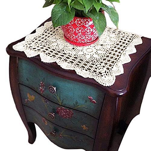 yazi Tablecloths Crochet Square Table Cover Christmas Lace Table Covering Doilies for Furniture Décor Beige Color 15.7inch