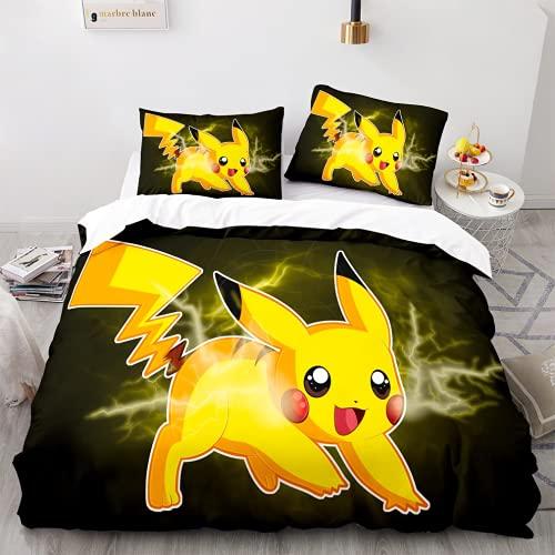 Parure de Lit 220 x 240 - Parure de Lit Pokemon Pikachu - Literie Imprimée en 3D - 100% Microfibre - avec Fermeture éclair et 2 Taies d'oreiller(#7,220 * 240cm + 65 * 65cm × 2)