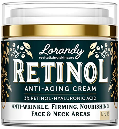 Lorandy Premium Retinol Cream - Made in USA - Retinol Face Moisturizer & Anti-Aging Cream for Women - Wrinkle Cream - Face Cream with Raw Retinol and Hyaluronic Acid - Healthy Revitalizing Skincare