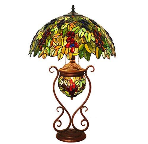 Lámpara De Mesa De Estilo Tiffany Lámpara De Vidrio De Colores Sockets De Metal Patrón De UVA Hecho A Mano Lámpara De Mesa Decorativa