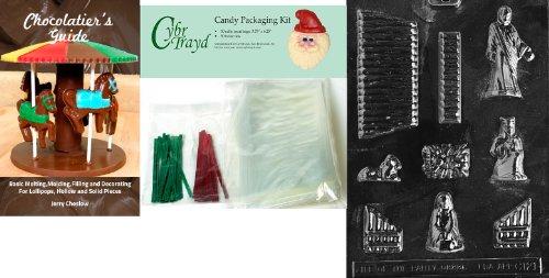 Cybrtrayd Geboorte Chocolade Mold met Chocolade Bundel van 50 Cello Tassen, 25 Groene en Rode Twist Ties en Chocolaten Gids