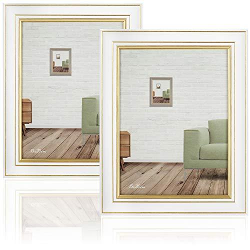 com-four® 2X Marco de Madera - Elegante Marco para Fotos de Boda - Marco Blanco con Borde Dorado para Las Fotos favoritas - 15 x 20 cm