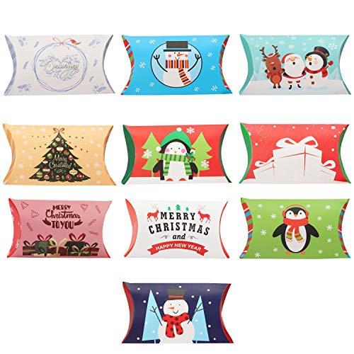 Belle Vous Scatoline Cartone Natale (Set da 50) - 10 Design Scatoline Regalo Natale (11 x 7 cm) Scatoline Natale per Bomboniere, Scatole Caramelle Natale e Scatoline Regalo per Gioielli e Decorazioni