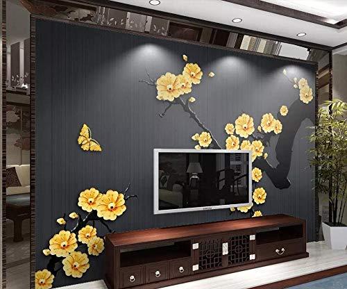 Preisvergleich Produktbild ZAMLE fototapetenwandbilder chinesische Klassische goldschmuck Pflaume tv Hintergrund Wand Wohnzimmer Schlafzimmer 3D Wallpaper,  200x140 cm (78.7 by 55.1 in)