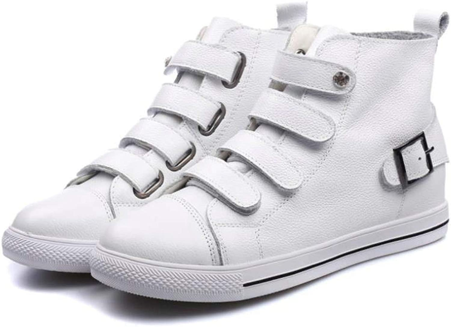 Hoxekle Women Faux Leather High-top Sneakers shoes Woman Wedge Height Increasing shoes Female shoes for Student