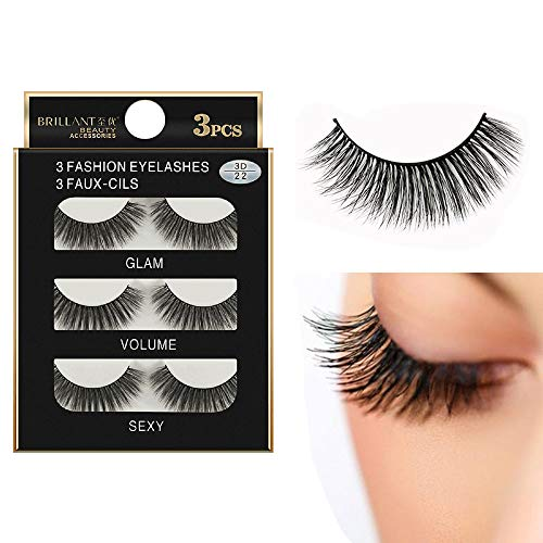 Faux Cils 3D Naturel,RéUtilisable Faux Cils à La Main Naturel Duveteux Ultra-Minces Charmant Longue Volum Eye 3 Pairs Noir Eyelashes (1cm-1.5cm, Noir)