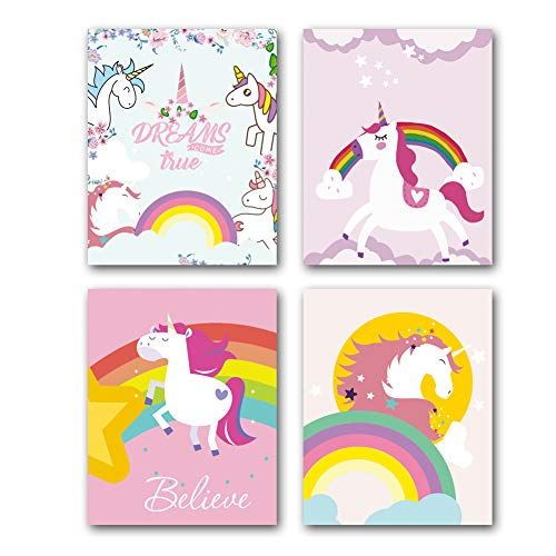 Unframed Unicorn Art Print Colorful Inspirational&Motivational Quotes Print,Watercolor Unicorn Rainbow Wall Art Picture Set of 4(8' x10' )Canvas Posters for Girls Room Nursery Decor,Unicorn Gift