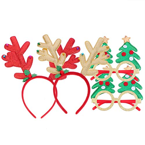 PIXNOR 4pcs Christmas Headband Eyeglasses Set Include 2 Antler Hair Band...