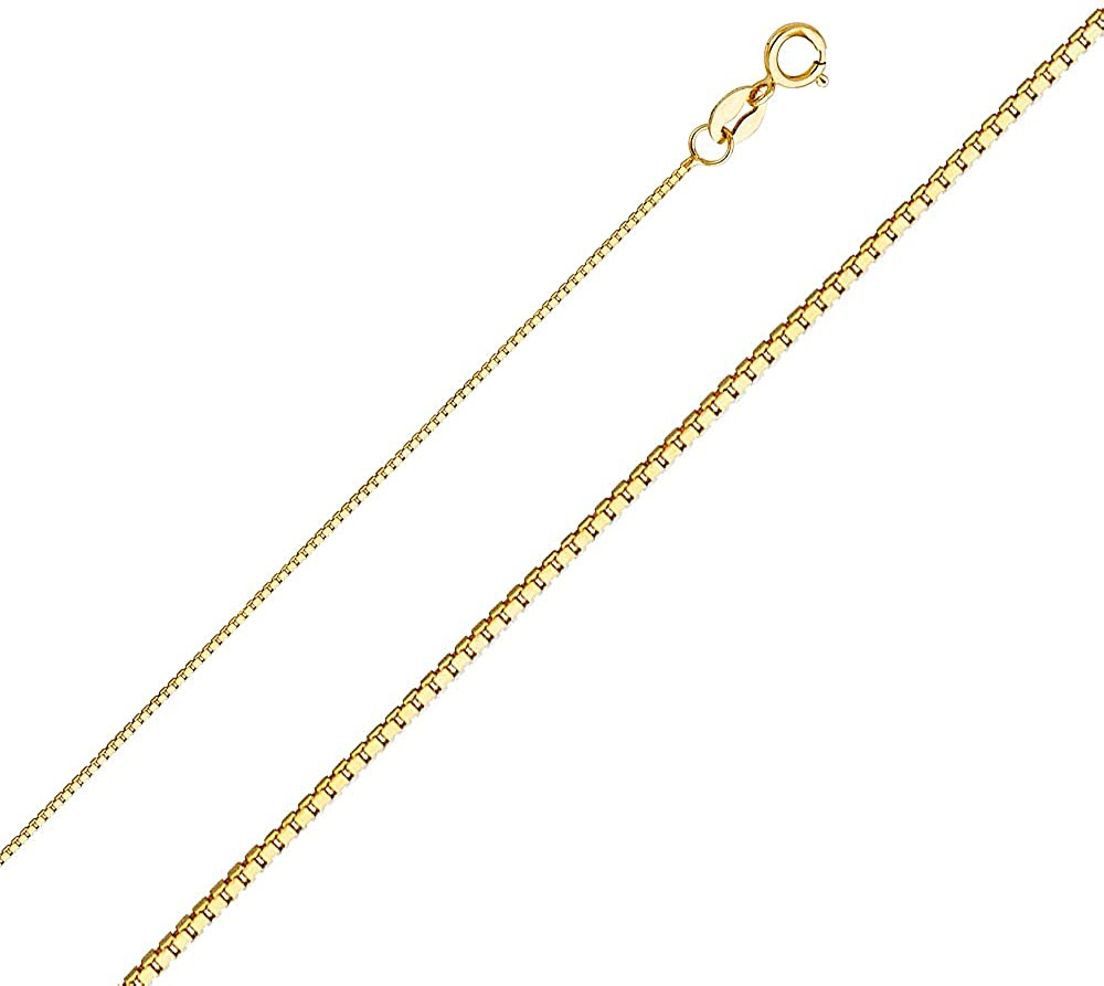 Ioka - 14K Yellow OR White Solid Gold 0.8mm Box Chain Necklace with Spring Ring Clasp