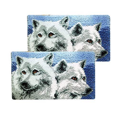 Bonarty 2 Set Kit di Animali con Chiusura A Scrocco Gancio con Strumenti Fai da Te Ornamenti Casa Lupo - 50 x 30cm