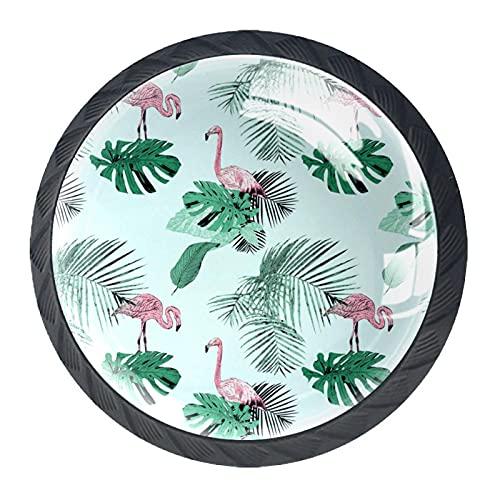 Tirador de la perilla del cajón 4 piezas El cajón del gabinete de vidrio de cristal tira las perillas del armario,Patrón Tropical Palms Flamingo Vintage