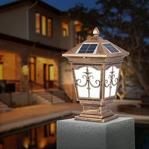 UWY LED Solar Césped Antorcha Lámpara de pie Al Aire Libre Linterna de Pilar Impermeable Columna de Vidrio de Aluminio Luz Villa Americana Jardín Patio Puerta Poste Lámpara Parque Sendero Terraz