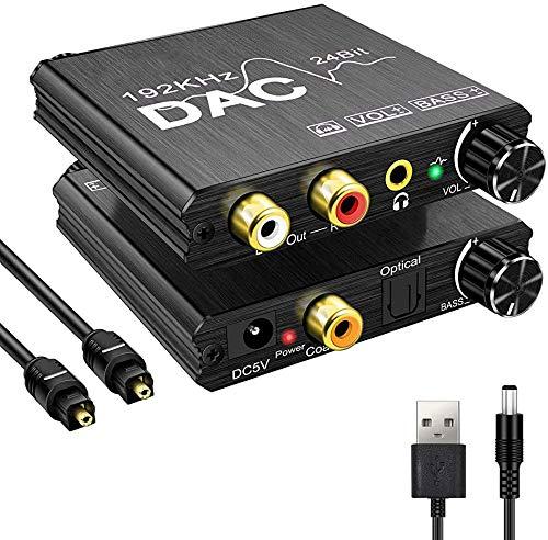 DA Wandler 192KHz DAC Digital SPDIF Toslink zu Analog Stereo Audio Konverter mit Optischem Kabel, R/L 3.5mm Jack, Volume adjustment,Netzteil 5V/DC, Audio Converter für PS3, PS4, Xbox, HD TV, Sky,TV