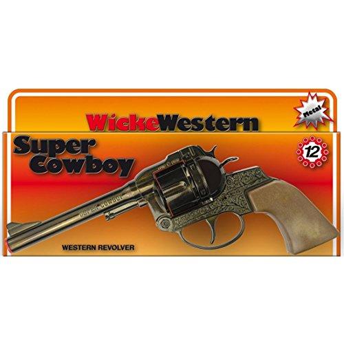 NET TOYS Pistolet Super Cowboy 12 Coups 230 mm Marron Revolver Texas Colt Western flingue Ranger Arme shérif Jouet