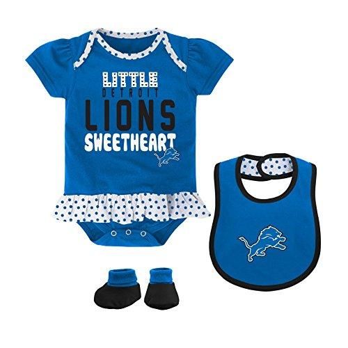 NFL Detroit Lions Girls Little Sweet Bib and Booty, Lion Blue, 24 Months
