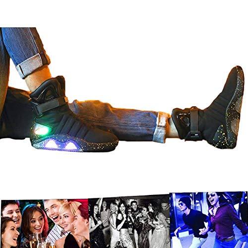 LED Schuhe USB Aufladen Leuchtschuhe Licht Blinkschuhe Leuchtende Sport Sneaker Light Up Turnschuhe Damen Herren Black-44