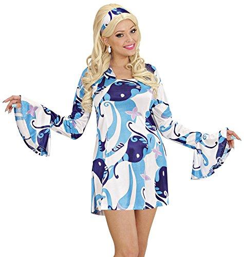 70er Jahre Lady Damen Hippie Retro Kostüm - Partykleid - Blau Gr. S