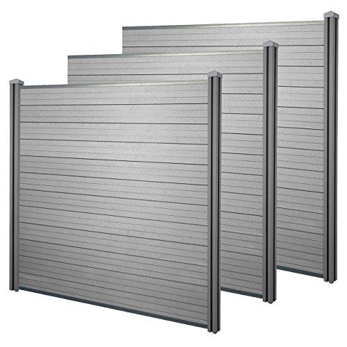 Mendler WPC-Sichtschutz Sarthe, Windschutz Zaun, WPC-Pfosten - 3er Set, 5,7m grau