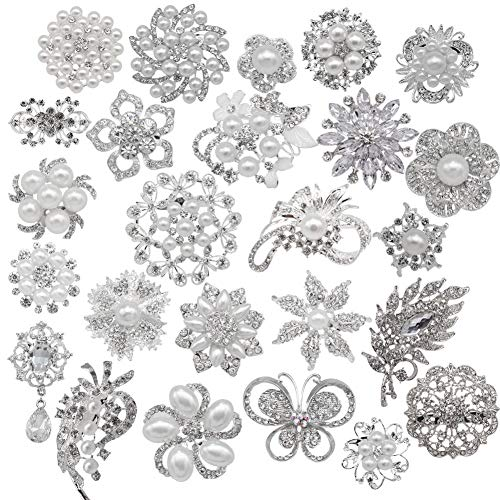eGlomart Lot 25pcs Rhinestone brooches, Big Pearl Crystal Wedding Bouquet kit Set
