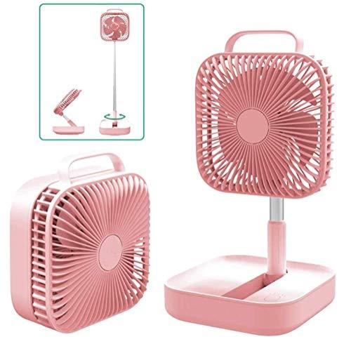 Xyl Oszillierende Fan Faltfächer tragbare Tischventilator extrem leise Lüfter Boxventilator Boden höhenverstellbar Büro und Haushalt Küche rosa Camping