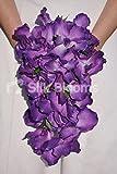 Ci & # 39; s regal qualcosa che fa solo un matrimonio non passare inosservato viola. Questo semplice ma elegante cascata bouquet da sposa caratteristiche & # 39; Touch & # 39; Royal Purple fresche vanda Orchidee, simbolo di amore eterno, con delicati...