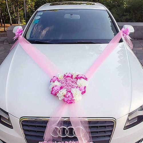 CULASIGN Auto Schmuck Braut Paar Rose Deko Dekoration Autoschmuck Hochzeit Car Auto Wedding Deko (Pink)