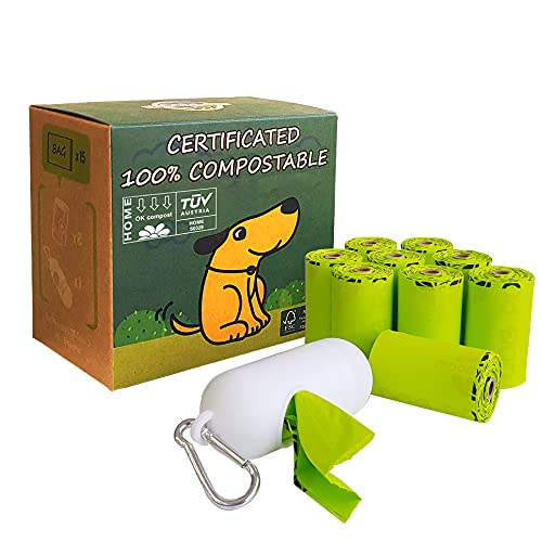 Moonygreen Dog Poop Bag with Dispenser, Compostable Vegetable-Based Doggie Bag for Waste, Compostable and Eco-Friendly, Unscented, Extra Thick and Leak Proof, 120 Counts, 10 Rolls, 9 x 13 Inches