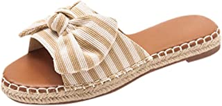 Padaleks Straw Sandals for Women Platform Bow Comfy Flats Summer Beach Travel Shoes Slippers Ladies Flip Flops
