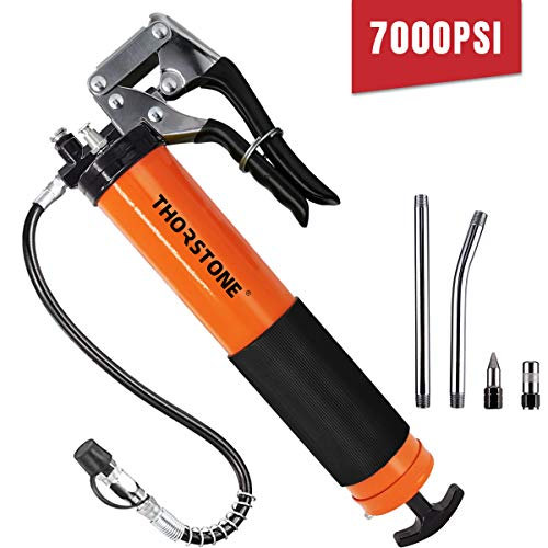 Thorstone Grease Gun Kit, 7000 PSI Heavy Duty Pistol Grip Grease Guns Set with 18 Inch Spring Flex Hose, 2 Reinforced Working Coupler, 2 Extension Rigid Pipe, 1 Sharp Type Nozzle Included, Orange